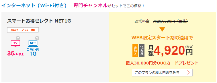 JCOM スマートお得セレクト NET1G